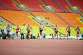Female race at grand sports arena moscow jun of luzhniki olympic complex during international athletics competitions iaaf world Stock Photo