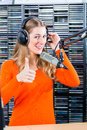 Female radio presenter in radio station on air or host hosting show for live studio Royalty Free Stock Photo
