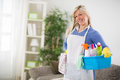 Female is ready for cleaning house Royalty Free Stock Photo