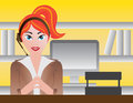 Female Receptionist Illustration Royalty Free Stock Photo