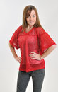 Female in red mesh sports jersey Royalty Free Stock Photos