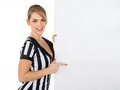 Female referee with billboard young blank over white background Royalty Free Stock Photo