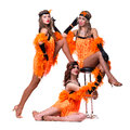 Female retro dancers showing some movements against isolated white Royalty Free Stock Photo