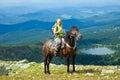 Female rider on horseback Royalty Free Stock Photo