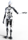 Female robot cyborg humanoid holding gesture with copyspace Royalty Free Stock Photos