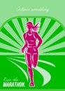 Female run marathon retro poster greeting card illustration showing a runner front view with sunburst in background done in style Royalty Free Stock Photography