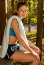 Female runner resting Royalty Free Stock Photos