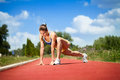 Female runner stretching Royalty Free Stock Photography