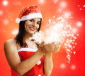 Female santa claus with sparkling stras Stock Images