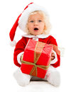 Female santa with a gift young christmas isolated over white Stock Photography