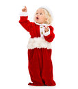 Female santa pointing something young with her finger isolated over white Stock Photo