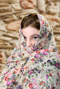 Female with scarf flowery covering her head Royalty Free Stock Photos