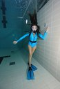 Female scuba diver with lycra suit underwater in the pool Royalty Free Stock Photography