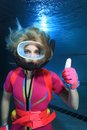 Female scuba diver show hand signal Stock Photo