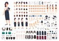 Female secretary or office assistant animation kit. Bundle of woman`s body parts, gestures, postures, clothes isolated