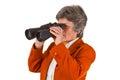 Female senior business woman with binoculars Royalty Free Stock Photo