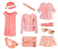 Female set collage salmon coral color isolated. Royalty Free Stock Photo