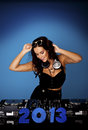 Female sexy DJ. Royalty Free Stock Images