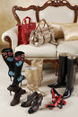 Female shoes, boots and bags Stock Photography