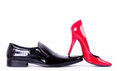 Female shoes and man's shoes Royalty Free Stock Photos