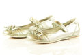 Female shoes on white background child kids beautifu accessories beautiful Stock Photo