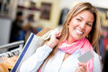 Female shopper credit card looking very happy Royalty Free Stock Photo