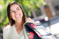 Female shopper smiling Royalty Free Stock Photo