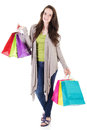 Female shopper stock image of casual isolated on white background Stock Images