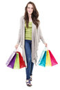 Female shopper stock image of casual isolated on white background Stock Photo