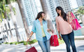 Female shoppers having fun and laughing while carrying baga Royalty Free Stock Images