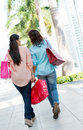 Female shoppers walking outdoors holding shopping bags Stock Photography