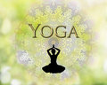 Female silhouette practicing yoga logo with meditation and natural mandala background Royalty Free Stock Photos