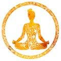 Female silhouette in yoga lotus pose. Royalty Free Stock Photo