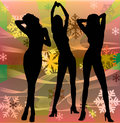 Female silhouettes dancing in a disco Royalty Free Stock Photography