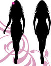 Female silhouettes with floral ornament Royalty Free Stock Images