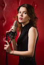 image photo : Female singer with microphone