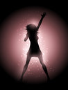 Female singer performing silhouette of a on a glowing lights background Stock Photography