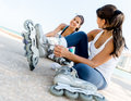 Female skaters outdoors Royalty Free Stock Photo