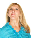 Female snob beautiful middle aged caucasian over white background Royalty Free Stock Photos