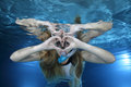 Female snorkeler happy show underwater heart signal Royalty Free Stock Photography