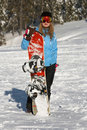 Female Snowboarder Stock Photo