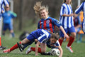 image photo : Female soccer intense competition
