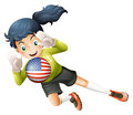 A female soccer player with the united states flag illustration of on white background Royalty Free Stock Photo