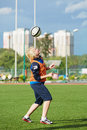 Female soccer player warms up before match moscow aug between csp izmailovo moscow mordovochka saransk at stadium of sports Stock Photos