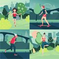 Woman outdoor activity. Female sport. Old lady, girl and woman on work out.