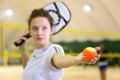 Female sportsman on beach tennis game Royalty Free Stock Photo