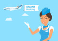 Female stewardess wearing blue suit and airplane behind her Stock Photo