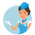 Female stewardess wearing blue suit round icon Royalty Free Stock Photography