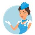 Female stewardess wearing blue suit. Round icon Royalty Free Stock Photo