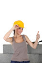 Female stonemason giving the thumb s up Stock Images